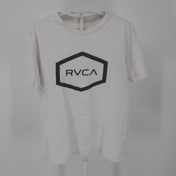 RVCA Boy's Large White Cotton T-shirt